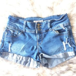 GUESS distressed mid rise denim shorts, size 29